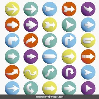 Coleção das setas ícones coloridos
