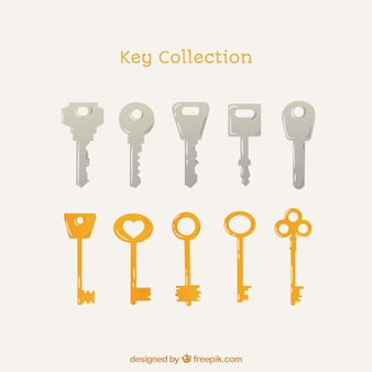 Coleção de 10 chaves de prata e dourada