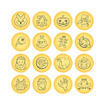 Coleção de 16 círculo esboçar ícones de halloween. ilustração.
