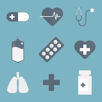 Coleção de 19 ícones cobertos de medicina e saúde