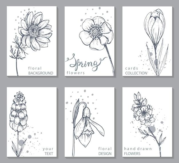 Coleção de 6 cartas com flores da primavera mão desenhada.