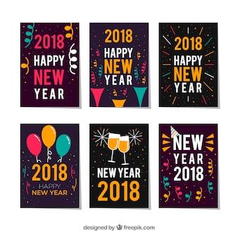 Coleção de 6 cartões saudação de ano novo