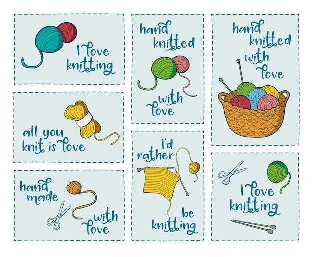 Coleção de 7 adesivos com citações relacionadas tricô