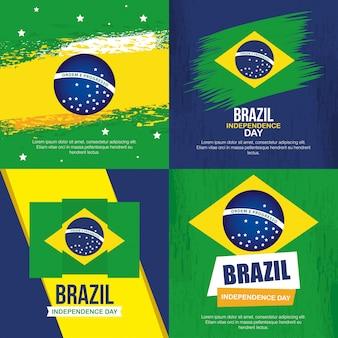 Coleção de, 7 de setembro, faixas de comemoração do dia da independência do brasil