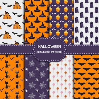 Coleção de 8 padrões de halloween com textura infinita. o fundo do vetor pode ser usado para papel de parede, preenchimentos, página da web, superfície, álbum de recortes, cartão de férias, convite e design de festa. Vetor Premium