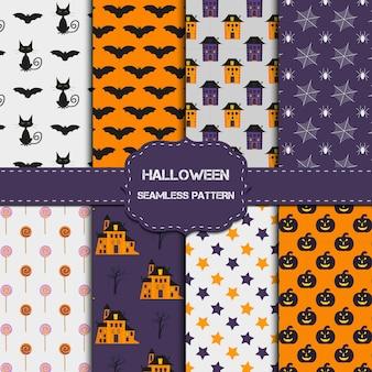 Coleção de 8 padrões de halloween com textura infinita. o fundo do vetor pode ser usado para papel de parede, preenchimentos, página da web, superfície, álbum de recortes, cartão de férias, convite e design de festa.