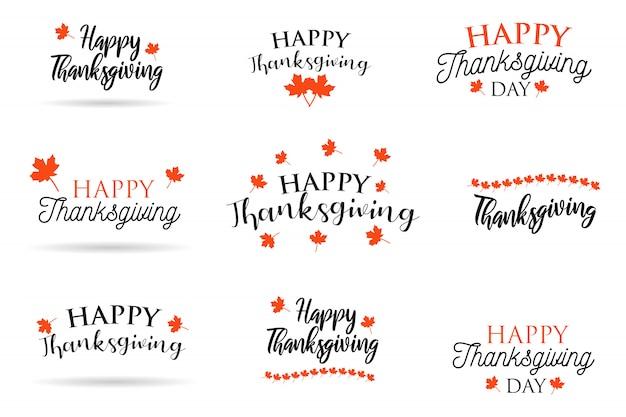 Coleção de 9 texto de caligrafia feliz ação de graças