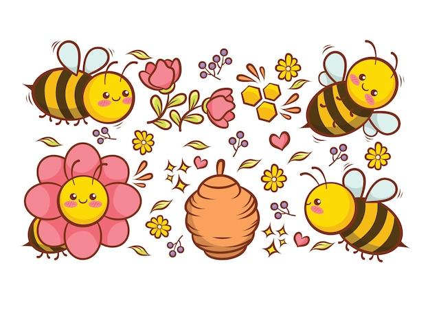 Coleção de abelhas fofas com flores, mel e desenho de colmeia