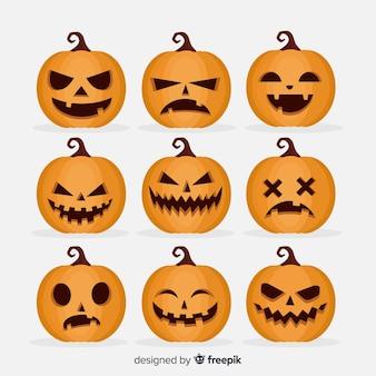 Coleção de abóbora assustador de halloween plana