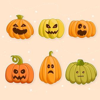 Coleção de abóbora de halloween de design plano