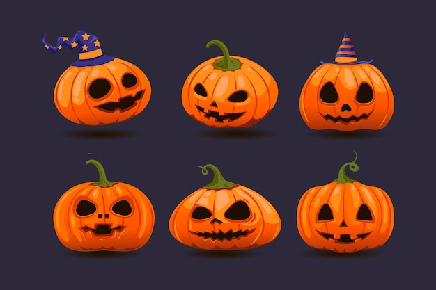 Coleção de abóbora de halloween desenhada à mão