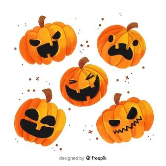 Coleção de abóbora de halloween em aquarela