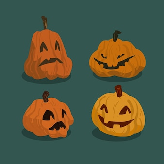 Coleção de abóbora de halloween em design plano
