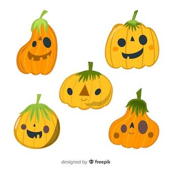 Coleção de abóbora de halloween liso amarelo