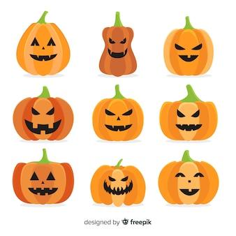 Coleção de abóbora de halloween plana no fundo branco