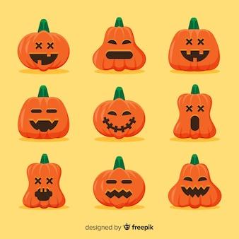 Coleção de abóbora inocente de halloween plana
