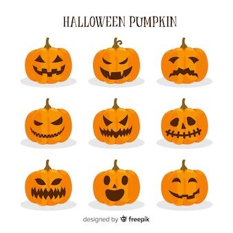 Coleção de abóboras de halloween com rostos diferentes