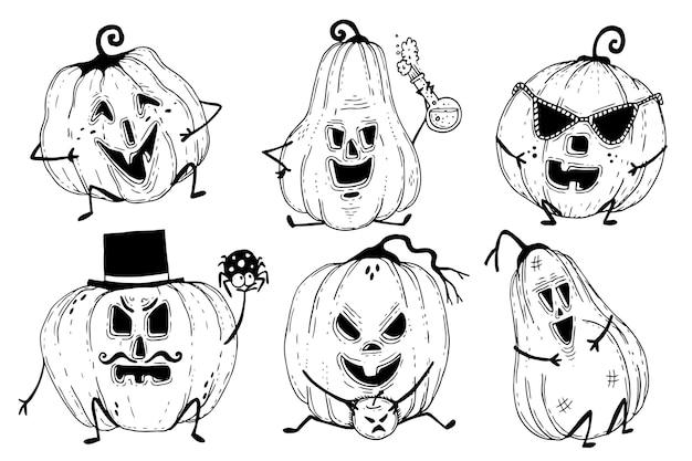 Coleção de abóboras de halloween desenhada à mão