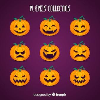 Coleção de abóboras de halloween em design plano