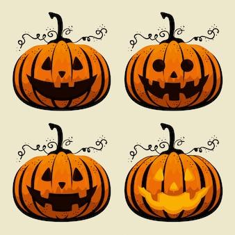 Coleção de abóboras de halloween