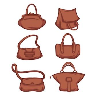 Coleção de acessórios, bolsas e bolsas femininas