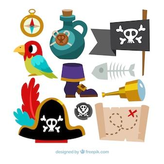 Coleção de acessórios de aventuras piratas