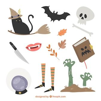 Coleção de acessórios de halloween
