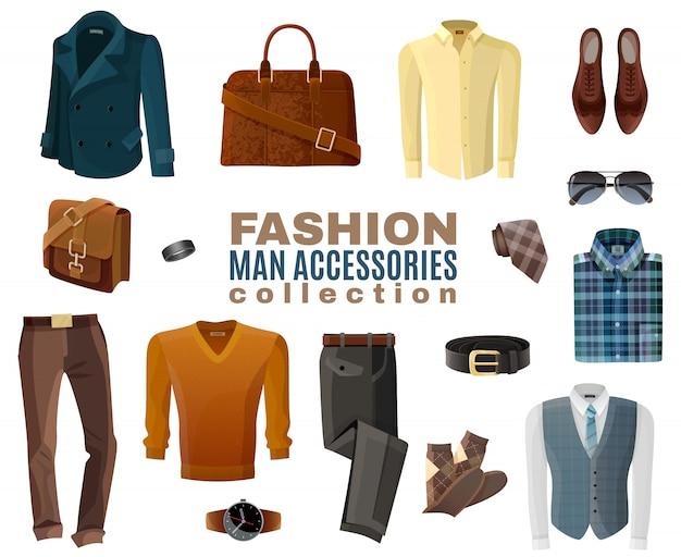 Coleção de acessórios de homem de moda
