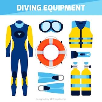 Coleção de acessórios de mergulho
