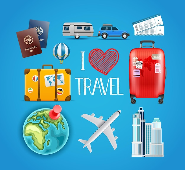 Coleção de acessórios de viagem.