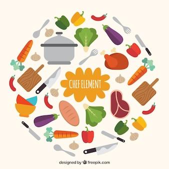 Coleção de acessórios e ingredientes de cozinha