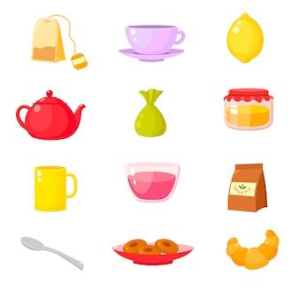 Coleção de acessórios para cerimônia do chá