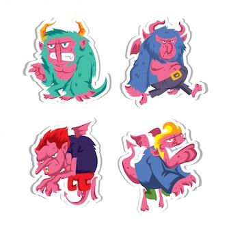 Coleção de adesivo de personagem de monstro