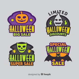Coleção de adesivo de venda de halloween plana
