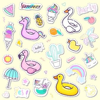 Coleção de adesivo de verão bonito na cor pastel