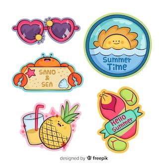 Coleção de adesivo de verão colorido mão desenhada