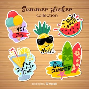 Coleção de adesivo de verão colorido