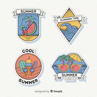 Coleção de adesivo de verão desenhada mão