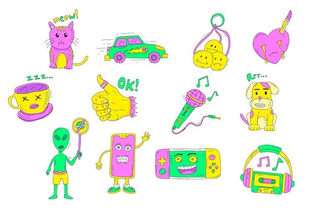 Coleção de adesivo engraçado de cores ácidas desenhados à mão