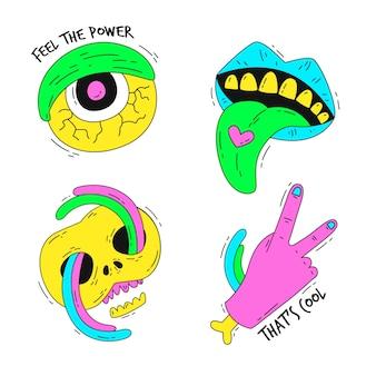 Coleção de adesivo engraçado mão desenhada com cores ácidas