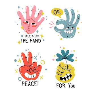 Coleção de adesivo engraçado mão desenhada
