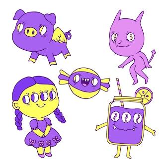 Coleção de adesivo estranho de cores violetas e amarelas