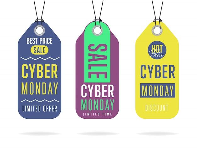 Coleção de adesivo venda segunda-feira cyber isolada