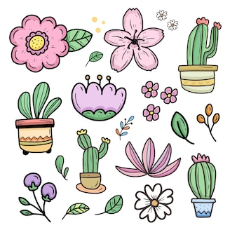 Coleção de adesivos bonitos de flores e cactos