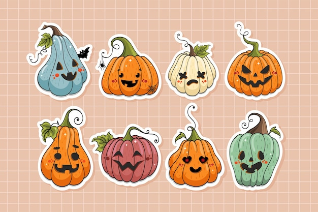 Coleção de adesivos bonitos de personagens de desenhos animados de abóboras de halloween em estilo desenhado à mão