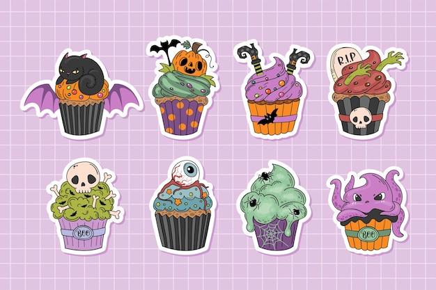 Coleção de adesivos bonitos de personagens de desenhos animados de cupcakes de halloween em estilo desenhado à mão