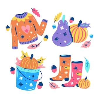 Coleção de adesivos brilhantes de outono