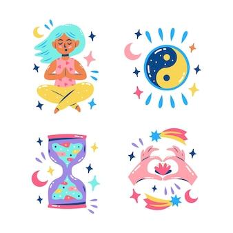 Coleção de adesivos brilhantes e fofos de meditação