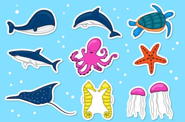 Coleção de adesivos coloridos de animais marinhos desenhados à mão
