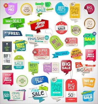 Coleção de adesivos coloridos de venda e tags